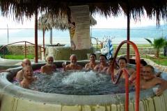 Enjoying the hot-tub